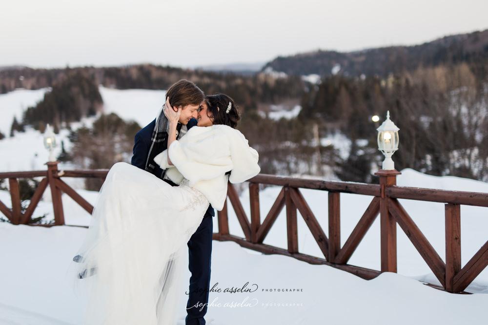 mariage, féerique, neige, hiver, Laurentides, paysage blanc, magnifique